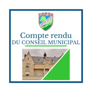 Compte rendu du conseil municipal - Mairie de Barisis Aux Bois