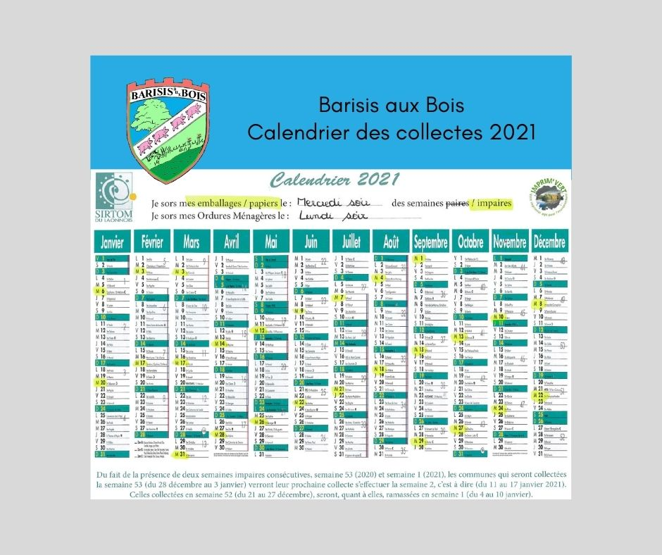 Calendrier de collecte-commune de Barisis aux Bois