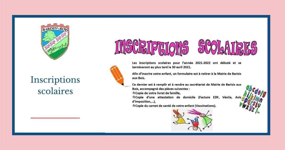 Inscriptions Scolaires 2021- 2022 - Mairie de Barisis aux Bois