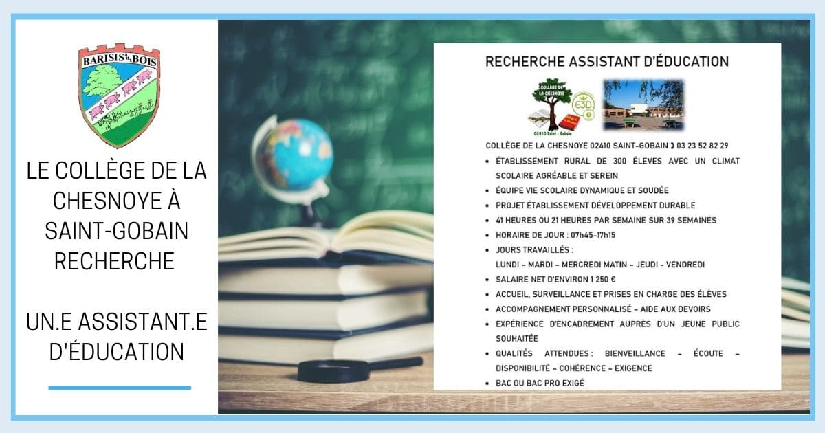 Collège Saint Gobain - RECHERCHE ASSISTANT D'ÉDUCATION FB